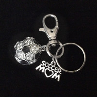 Soccer Mom Key Chain Siver Crystal Soccer Charm Silver Key Ring Gift Inspirational Meaningful