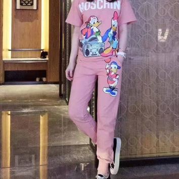 """MOSCHINO"" Women's Leisure  Fashion Letter Donald Duck Printing  Short Sleeve Trousers Couple Two-Piece Casual Wear"