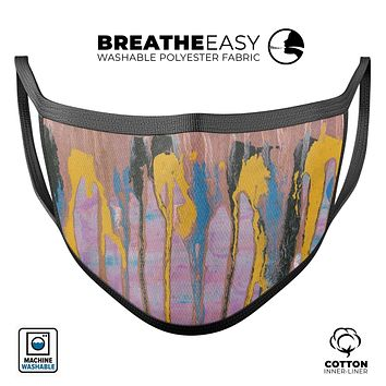 Abstract Wet Paint Retro Pink - Made in USA Mouth Cover Unisex Anti-Dust Cotton Blend Reusable & Washable Face Mask with Adjustable Sizing for Adult or Child
