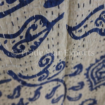 Block Print Cotton Kantha Quilt, Handmade Kantha Bedspread, Indian Printed Bed Cover, Twin Size, Blue Color Theme, Reversible Indian Throw