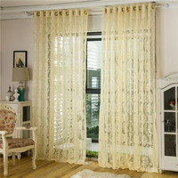 2 Panel Punching Jacquard Hollow out Voile Sheer Curtains Window Screening