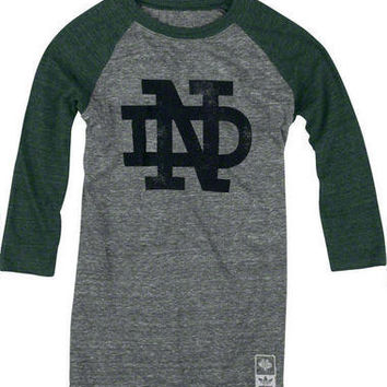 Notre Dame Fighting Irish adidas Originals Womens Vintage Mascot 3/4 Sleeve Tri-Blend T-Shirt-Notre Dame Fighting Irish-NCAA- Gotta Go to Mo's