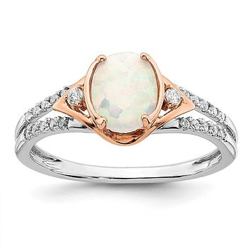 14k Two-Tone Gold Created Opal and Real Diamond Ring