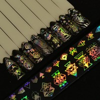 8pcs Holographic Nail Art Transfer Stickers Decals Christmas/Dreamcatcher/Triangle/Rose Flower Nail Foils Laser Nail Decor BE633