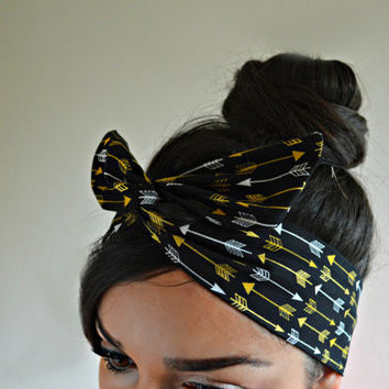 Gold Arrow Dolly bow Headband, hair bow head band