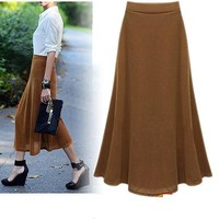 Womens Long Skirts - Brown / Retro