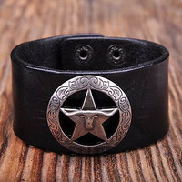leather wrap bracelet cuff bracelet biker bracelet star bracelet star leather bracelet punk bracelet rock bracelet unisex bracelet for him