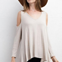 She's Got a Way Cold Shoulder Top - Oatmeal