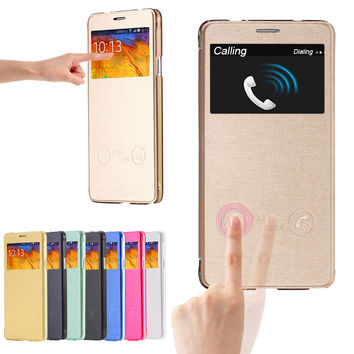 View Window Answer Flip Cover Leather Case for Samsung Galaxy Note 4 N9100