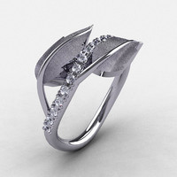 Natures Nouveau 14K White Gold White Sapphire Leaf by artmasters