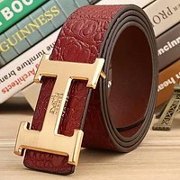 Hermes 2018 new classic letter buckle men and women models smooth buckle belt red