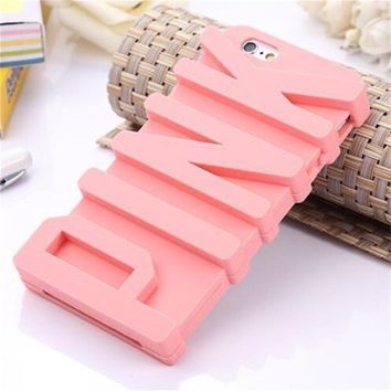 """Topit iphone 6 Plus 5.5"""" Victoria's Secret Pink Letter Designed Silicon Case Cover skin For Apple iphone 6 Plus 5.5 inch Release on 2014 + 1psc Wristband (5.5"""" Pink)"""