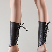 Victorian Steampunk Spats Leather Brown Shoe Boot Covers Fetish Gothic Fantasy Costume Cosplay - Chrisst - Unique Fashion SPECIAL ETSY PRICE