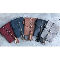 Leather Tassel Crossbody Purse