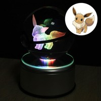 Ibrahimovic pokemon Crystal Transparent Glass Ball Crtoon Animals Design Inside Action Figures Pokemon Toy for Decorative Gifts