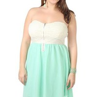 plus size strapless high low dress with lace bodice - debshops.com