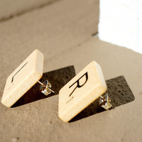 SCRABBLE® STUD EARRINGS - Post/Stud - Choose Any Letters - Librarians, Teachers, Literati, Poets, Authors, Bookworms, & Game/Book Lovers