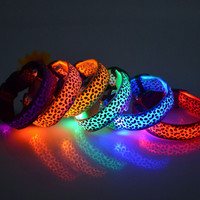 Nylon Pet LED Dog Collar Pet Supplies Night Safety Flashing Glow Electric Collars for Dogs S M L Size
