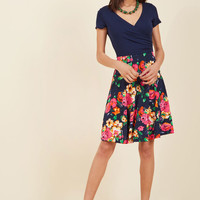 Botanical Breakfast Floral Dress in Navy Blossoms
