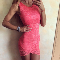 Lace Summer Hot Sale Round-neck Sleeveless Backless One Piece Dress [11616509647]
