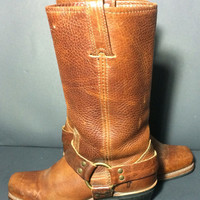 Frye 77300 Harness Brown Leather Motorcycle Boot 12r Women's Size 6