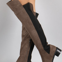 Suede Elasticized Panel Riding Over-The-Knee Boots