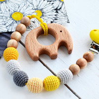 Yellow and Grey Pacifier Clip Holder with Wooden Elephant Shaped Pendant - Wooden Elephant  Toy - Safe for teething baby - Baby shower gift