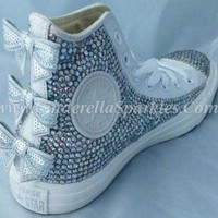 DCCKHD9 White Chuck Taylor High Top Crystal Rhinestone Converse with seuin bow - Mono leather