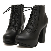 Black Lace-up Zip Leather Boots