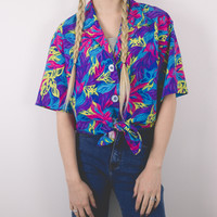 Vintage Tropical Button Blouse