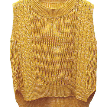 Yellow Cable Detail Sleeveless Dipped Hem Knit Vest