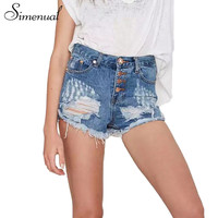 Ripped vintage summer denim shorts women clothing streetwear fashion buttons slim sexy fringe jeans