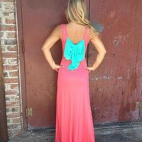 Coral Sleeveless Maxi Dress with Contrast Bow Back