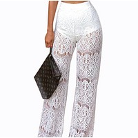 Sexy high waist lace hollow perspective stitching pants