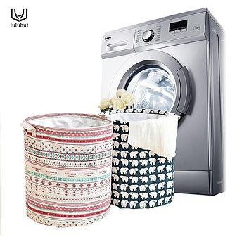 luluhut laundry bag basket for clothes water proof cotton linen dirty clothes storage basket foldable cartoon bathroom barrel