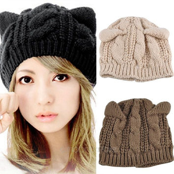 Women's Cat Ear Crochet  Braided Knit Ski Beanie Wool Hat Cap = 1929923588