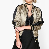 Zoe Satin Raglan Sleeve Zip Through Bomber Jacket