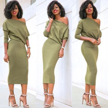 Fashion WomenCasual One Shoulder Bodycon Evening Party Dress Batwing Sleeve Sexy Off Shoulder Sheath Dresses