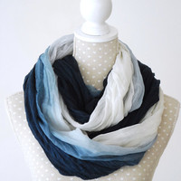 Big BLUE Ombre Infinity Scarf Loop Scarf with Flower pattern Great with your outfit