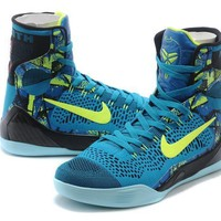 Nike Zoom Kobe Bryant 9 Blue / Fluorescent Green Basketball Shoes