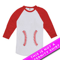 Funny Pregnancy Shirt Maternity Tops Pregnancy Clothing Baseball Shirt Maternity Gifts Expecting Mom American Apparel Unisex Raglan MAT-540