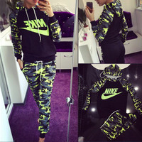 """""""NIKE"""" Fashion Casual Multicolor Camouflage Letter Print Long Sleeve Hooded Set Two-Piece Sportswear"""