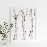 Watercolor Birch Tree Forest Wall Art Print or Canvas