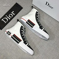 DIOR 2019 early spring new printing high shoes casual men and women canvas shoes White