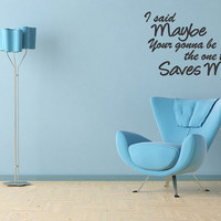 Oasis Wonderwall Quote Vinyl Wall Art Stickers - Large Song Lyrics  Bedroom HomeHome Decor Lettering Sticker  (B25)
