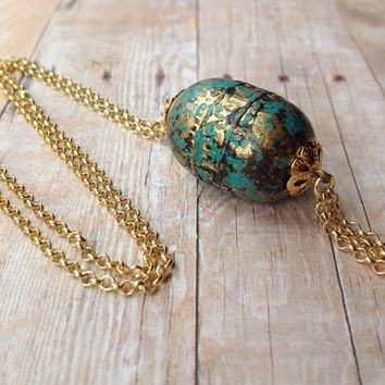 18K Gold Plated Boho Necklace, Turquoise, Gold, Black
