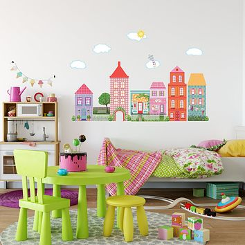 Girl's Dollhouse Town Wall Decals, Removable and Reusable Peel and Stick Eco-Friendly Matte Fabric Wall Stickers