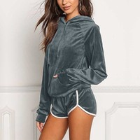 Women's Two Piece Set Tracksuit Velvet Hoodie and Shorts