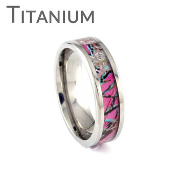 Think Pink Camo - FINAL SALE Pink camouflage inlay titanium ring