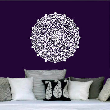 Wall Decal Vinyl Sticker Decals Art Home Decor Mural Mandala Ornament Indian Geometric Moroccan Pattern Yoga Namaste Lotus Flower Om AN564